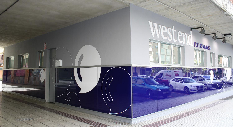 West End idiomas - Diseño y Rotulación - rotulos luminosos y vinilos - Curva Rotulación Integral Pamplona